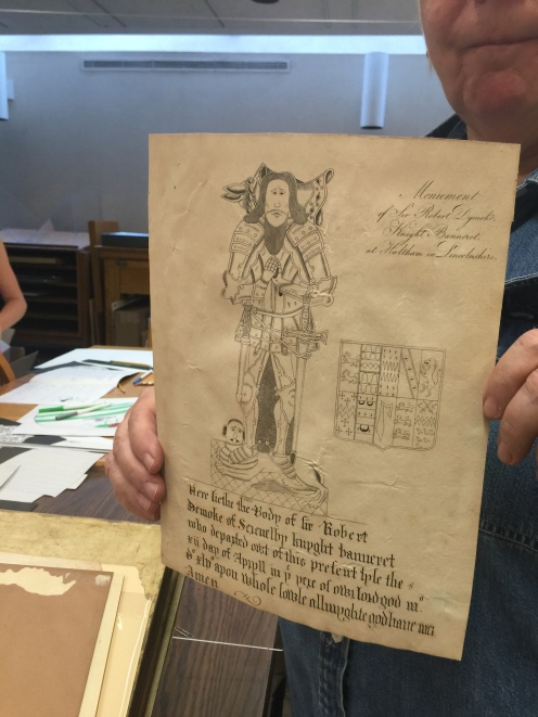 A sketch of a medieval nobleman with a coat of arms from Pequot Library's special collection